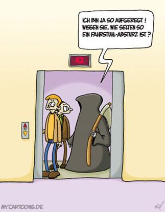 cartoon  2007 11 05 fahrstuhl tod